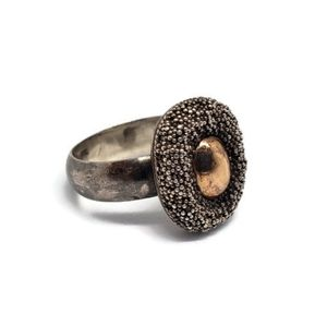 Sterling Silver Textured Gold Accent Ring